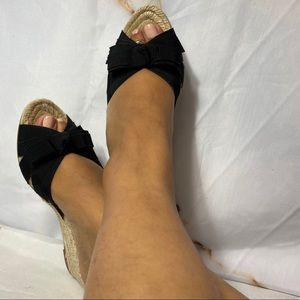 Ferragamo black wedges size 6.5